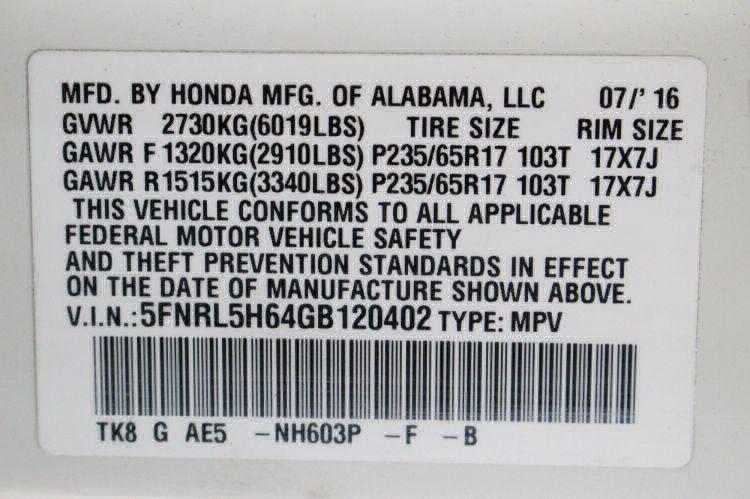 2016 Honda Odyssey EX-L Wheelchair Van For Sale #27