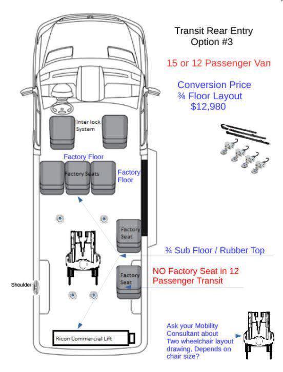 2017 Ford Transit Passenger 350 XLT Wheelchair Van For Sale #3